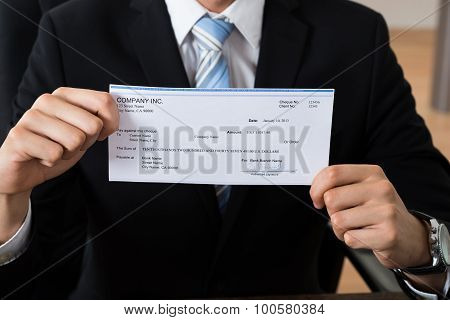 Close-up Of Businessman Showing Cheque