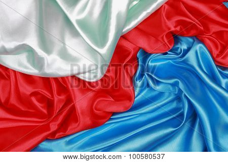 Blue And Red And Light Green Silk Cloth Of Wavy Abstract Backgrounds
