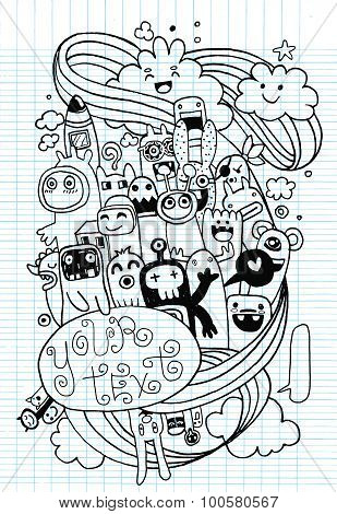 Hand Drawn Monsters And Cute Alien