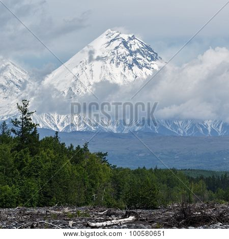 Beautiful View Of Kamen Volcano. Russia, Kamchatka
