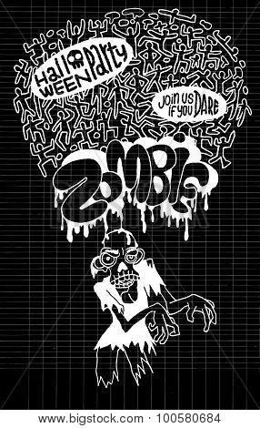 Halloween Zombie Party Invitation Poste