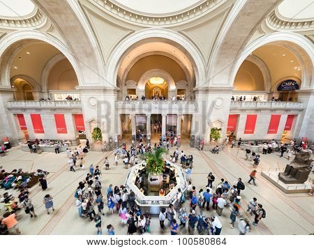 NEW YORK,USA- AUGUST 18,2015 : Visitors at the lobby of the Metropolitan Museum of Art in Manhattan