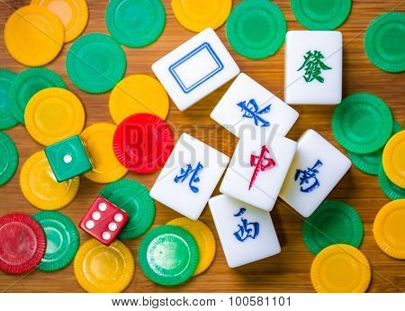 Mahjong, Chips And Dices On The Table