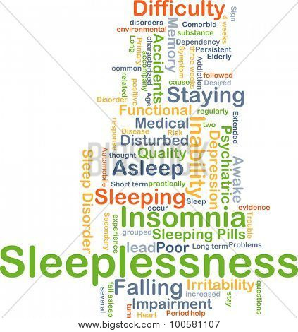 Background concept wordcloud illustration of sleeplessness
