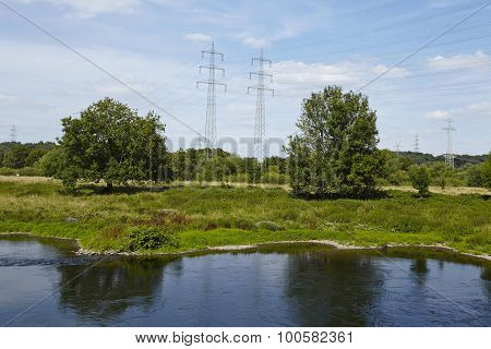 Hattingen (germany) - Landscape With River Ruhr, Trees And Power Poles