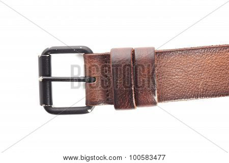 Buckle Brown Leather Belt Fashion On White Background