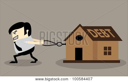 Business man dragging house with a rope