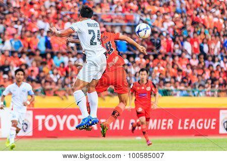 Sisaket Thailand-april 4: Nantachot Pona Of Port Fc (white) Head The Ball During Thai Premier League