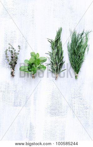 Assorted mix herbs on rustic white background, rosemary, thyme, mint, fennel