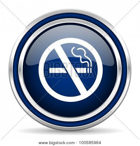 no smoking blue glossy web icon modern computer design with double metallic silver border on white background with shadow for web and mobile app round internet button for business usage
