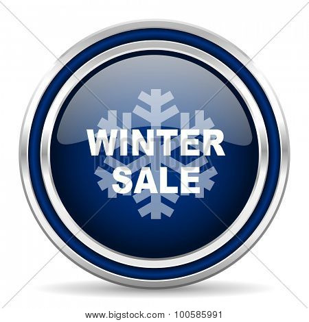 winter sale blue glossy web icon modern computer design with double metallic silver border on white background with shadow for web and mobile app round internet button for business usage