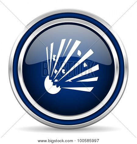 bomb blue glossy web icon modern computer design with double metallic silver border on white background with shadow for web and mobile app round internet button for business usage