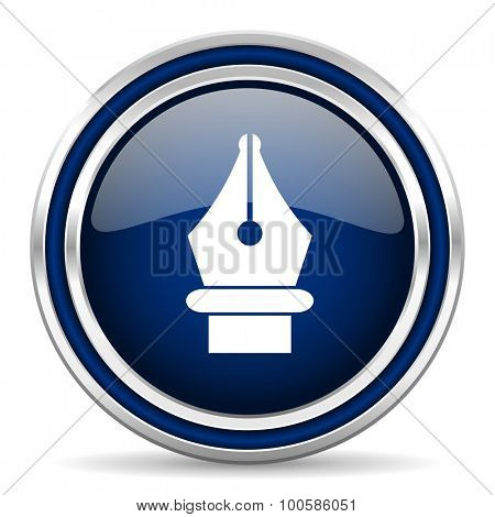 pen blue glossy web icon modern computer design with double metallic silver border on white background with shadow for web and mobile app round internet button for business usage