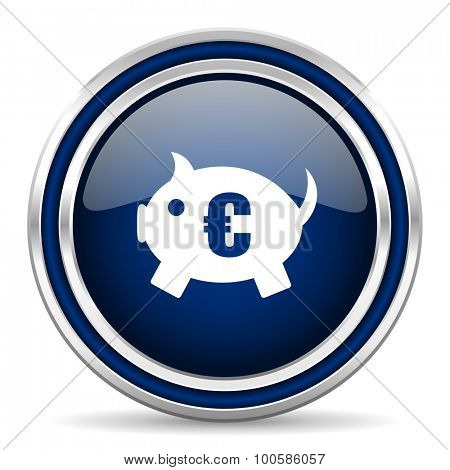 piggy bank blue glossy web icon modern computer design with double metallic silver border on white background with shadow for web and mobile app round internet button for business usage
