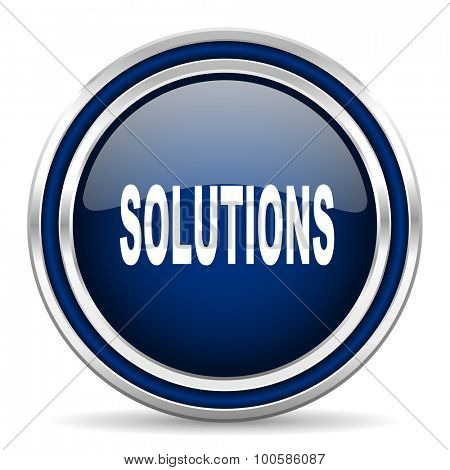 solutions blue glossy web icon modern computer design with double metallic silver border on white background with shadow for web and mobile app round internet button for business usage