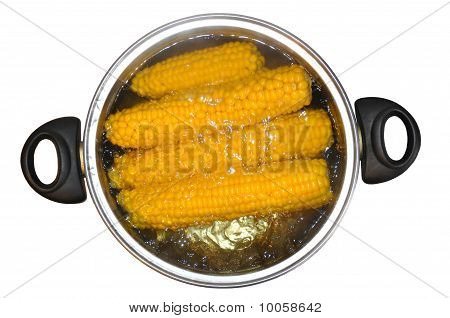 Corn In A Saucepan, In Boiling Water