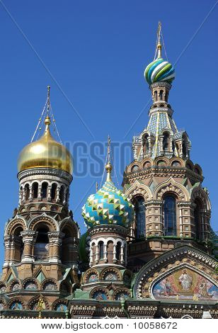 Domes Of Church Of The Savior On The Spilt Blood