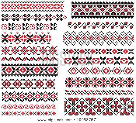 set of red and black ethnic patterns for embroidery stitch