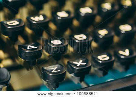 Close Up Of Antique Typewriter Keys. Old Manual Retro Keys, Vint