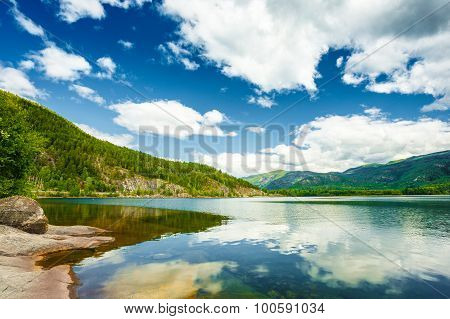 Norway Nature Fjord, Summer Season Landscape With Mountain, Lake