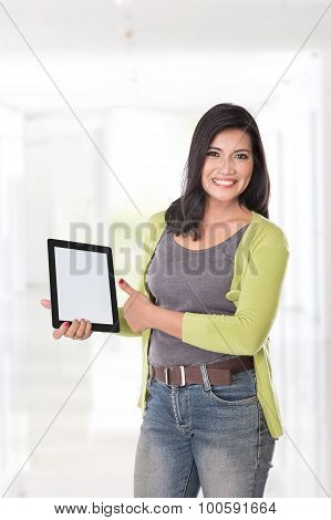 Beautiful Asian Woman Holding A Digital Touch Screen Tablet Computer On White Background.