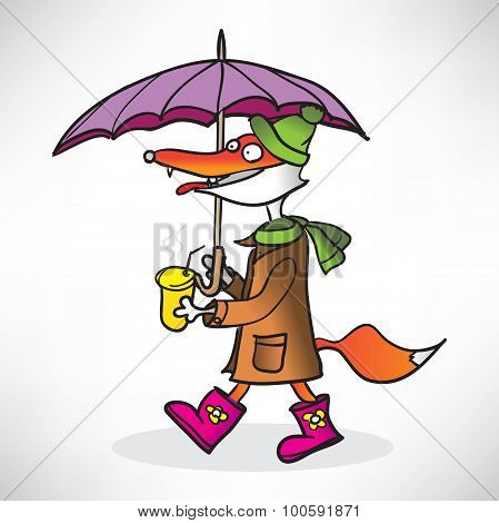 red fox in a raincoat with coffee, pink boots and a umbrella in