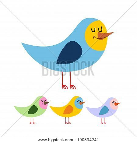 Bird With Eyes Closed. Cute Funny Bird Sleeps. Animal Beak On A White Background In A Variety Of Col