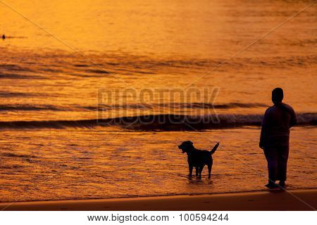 Silhouetted Of Friendly Family On The Beach At The Sunset Time.