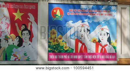 Communist Propaganda Signs In Saigon