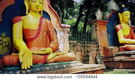 Bright sitting Buddha statue