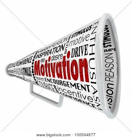 Motivation word on bullhorn or megaphone to illustrate inspirational speaking, leadership or management sharing a message to inspire a team, workforce or employees