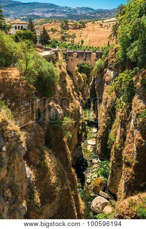 The Puente Viejo - Old Bridge in Ronda, Province Of Malaga, Spain