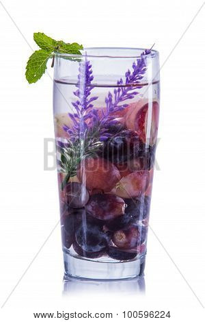 Infused Water Mix Of Purple Grape, Lavender And Red Grapes