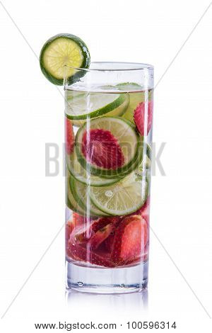Infused Water Mix Of Strawberry And Lime