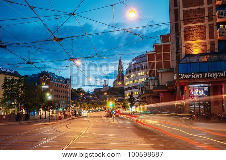 Night View of Biskop Gunnerus gate street in Oslo, Norway. Summe