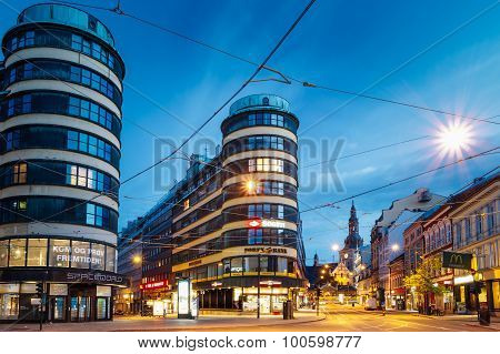 Night View of Cityscape in Oslo, Norway.