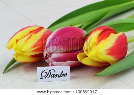Danke (which means thank you in German) card with red and yellow tulips