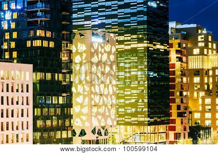 Night View Of Modern Architecture In City Center in Oslo, Norway
