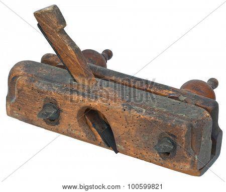 Old Wooden Carpenter Plane Cutout