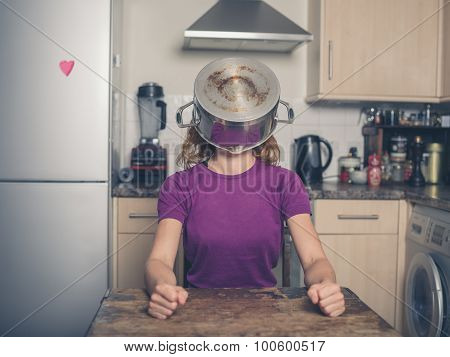 Silly Woman With Pot On Her Head