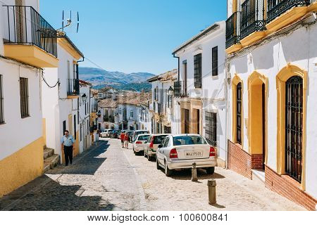 Typical white street in Ronda, Malaga, Spain. Andalusian narrow
