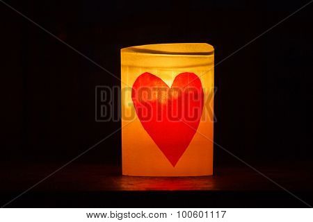 St Valentine's day greeting card with candle