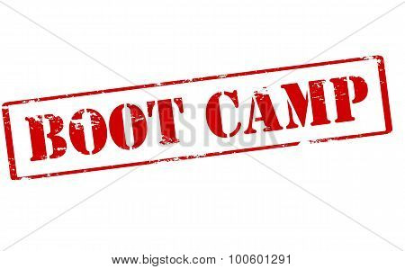 Rubber stamp with text boot camp inside vector illustration