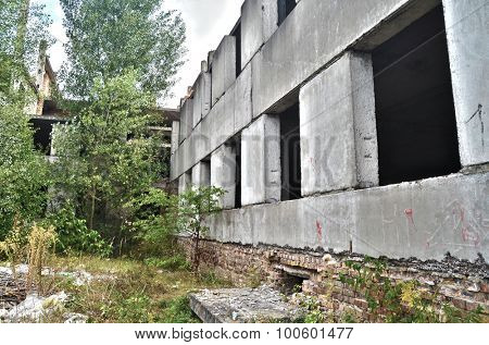 Abandoned construction site of Hospital.Abandoned at 1991,during ukrainian undependence crisis. Near Kiev,Ukraine. HDR