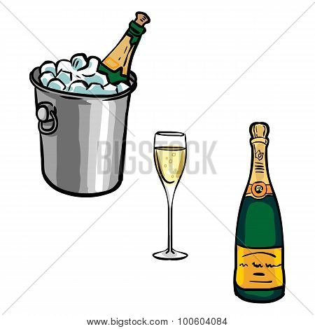 Vector Set Of  Champagne Bottles With Glasses And Champagne Bucket
