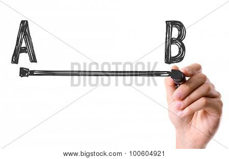 Hand drawing a line from point A to point B