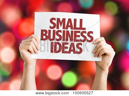 Small Business Ideas placard with bokeh background