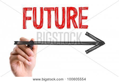 Hand with marker writing the word Future