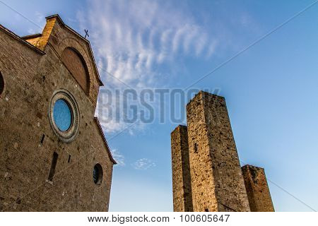Dome And Towers During Sunset -san Gimignano,italy