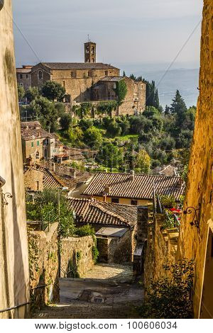 Narrow Streets With Fortress View-montalcino,italy